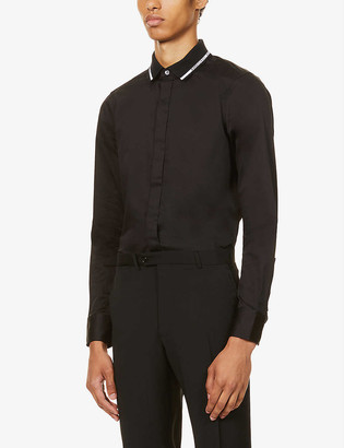 Emporio Armani Contrast-trim stretch-cotton shirt
