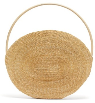 Eliurpi - Maxi Wooden-handle Straw Tote Bag - Beige