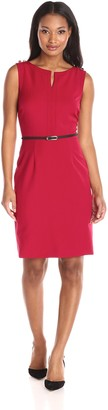 Ellen Tracy Women's Sleeveless Belted Career with Button Trim