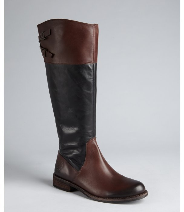 Vince Camuto black and cognac leather buckle strap 'Keaton' riding boots