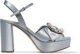 Miu Miu Embellished Satin Platform Sandals - Sky blue