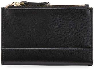Neiman Marcus Saffiano Double-Zip Bifold Wallet