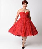 Unique Vintage Plus Size 1950s Red Swiss Dot Dandridge Strapless Swing Dress