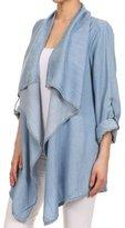 Polly Online Women Casual Long Sleeve Denim Shirt Open Front Cardigan Irregular Coat L