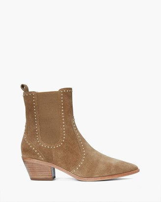 Paige Studded Willa In Suede-Saddle