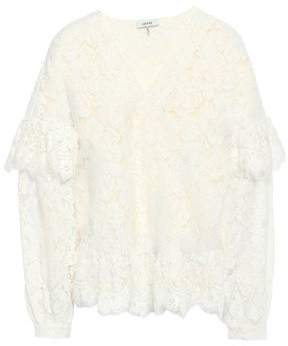 Ganni Jerome Ruffled Corded Lace Blouse