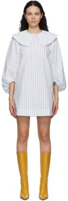 Ganni Blue and White Striped Balloon Sleeve Dress
