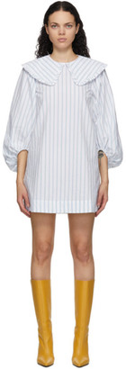 Ganni SSENSE Exclusive Blue and White Striped Balloon Sleeve Dress
