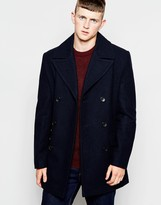 French Connection Long Pea Coat - Black