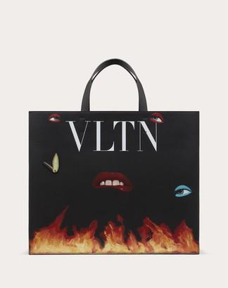 Valentino Garavani Uomo Emilio Villalba Collaboration Tote Bag Man Black/white 100% Pelle Bovina - Bos Taurus OneSize