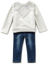 7 For All Mankind Baby Girls 12-24 Months Long-Sleeve French Terry Tee & Denim Jeans Set