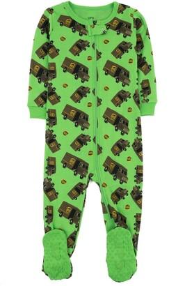 Leveret Green UPS Footed Sleeper Pajama
