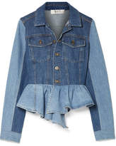 Sea Two-tone Peplum Denim Jacket - Blue
