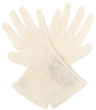 Gucci Gg And Rose-lace Gloves - Womens - White
