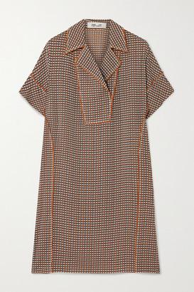 Diane von Furstenberg Maxine Checked Stretch-silk Mini Dress