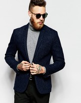 Asos Slim Blazer In Harris Tweed