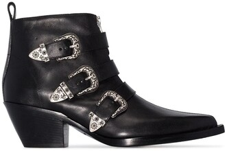 R 13 buckle-detail ankle boots