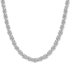 "Essentials Fine Silver Plated Rope Link 24"" Chain Necklace"