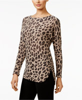 Charter Club Petite Cashmere Animal-Print Sweater, Only at Macy's
