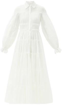 Aje Serenity Cutout Tiered Cotton Shirt Dress - White