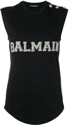 Balmain Logo Embroidered Tank Top