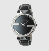 Gucci Interlocking Large Stainless Steel And Crocodile Watch With Diamonds