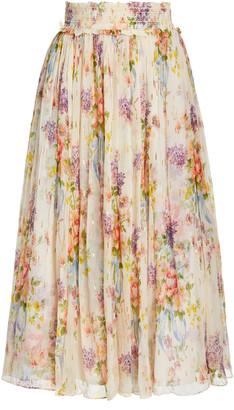 Needle & Thread Floral Diamond Smocked Chiffon Midi Skirt