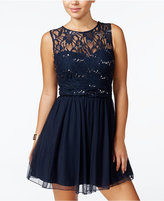 Speechless Juniors' Sequined Lace A-Line Dress