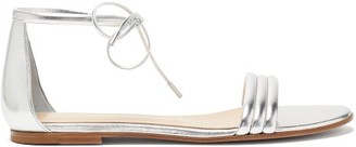 Gianvito Rossi Ankle-tie Metallic Leather Sandals - Silver