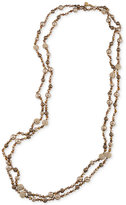 Carolee Gold-Tone Pavé and Imitation Pearl Beaded Rope Necklace