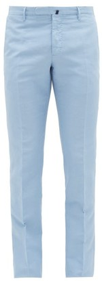 Incotex Slim-fit Linen-blend Chino Trousers - Mens - Light Blue