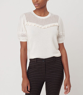 LOFT Ruffle Puff Sleeve Sweater Tee