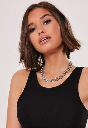 Missguided Silver Look Chunky Chain Choker