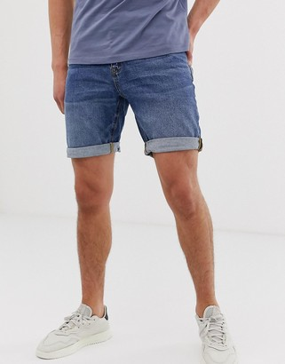 Asos DESIGN slim denim shorts in dark wash