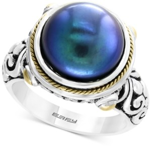 Effy Dyed Cultured Freshwater Pearl (12mm) Ring in Sterling Silver & 18k Gold Over Silver