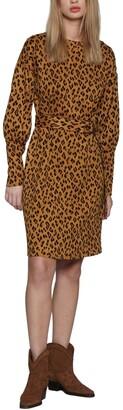 Walter Baker Mikayla Leopard Print Belted Sheath Dress