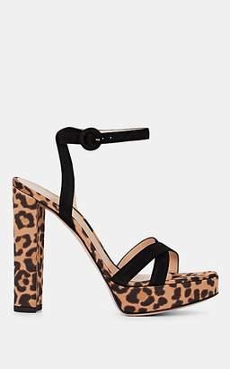 Gianvito Rossi Women's Leopard-Print Suede & Satin Sandals - Brown