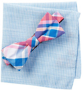 Original Penguin Clive Plaid Bow Tie & Pocket Square Set