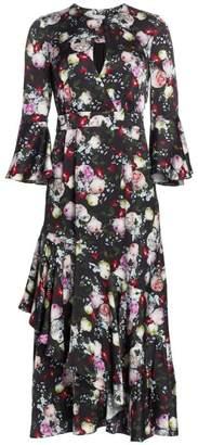 Erdem Florence Floral Ruffle Midi Dress