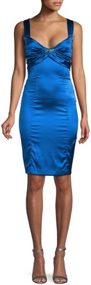 Roberto Cavalli Ruched Silk Sheath Dress