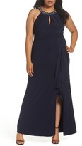 Vince Camuto Plus Size Women's Beaded Neck Faux Wrap Gown