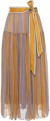 Zimmermann Gathered Striped Silk-crepon Midi Skirt