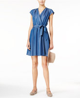 Maison Jules Chambray Faux-Wrap Dress, Only at Macy's