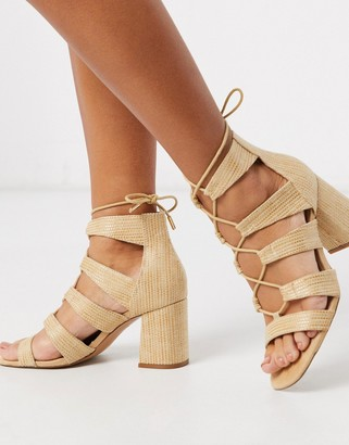 Stradivarius raffia lace up sandal