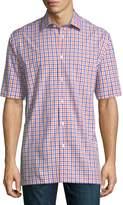 Neiman Marcus Classic Fit Regular Finish Short-Sleeve Cotton Check Shirt