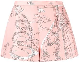 Emilio Pucci Illustration-Print Silk Shorts