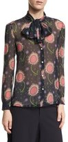RED Valentino Tie-Neck Wishing Flower-Print Silk Blouse, Navy