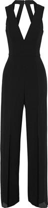 Halston Cutout Crepe-paneled Chiffon Wide-leg Jumpsuit