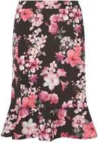 DP Curve Floral Print Peplum Pencil Skirt