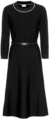 Salvatore Ferragamo Embellished wool-blend dress